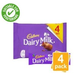 TCH232 Cadbury Dairy Milk Chocolate Bar 4 Pack 144g